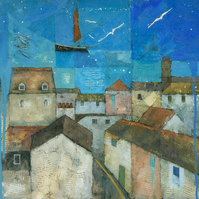 Falmouth Harbour Abstract Painting, Signed Fine Art Print