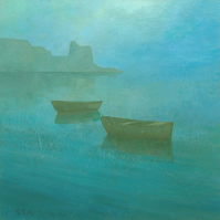 "Blue Mist I, Signed Fine Art Print 11""x11"""