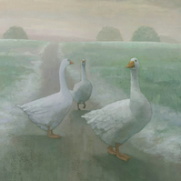 Wandering Geese Painting, Signed Fine Art Print 10 x 7 inches