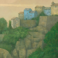 Hilltop Village, Corsica, Signed Fine Art Print 10x7 inches
