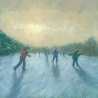 Winter Games, Signed Fine Art Print 7.25x7.25 inches