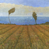Cornish Meadow,  Signed Fine Art Print 7.25x7.25 inches
