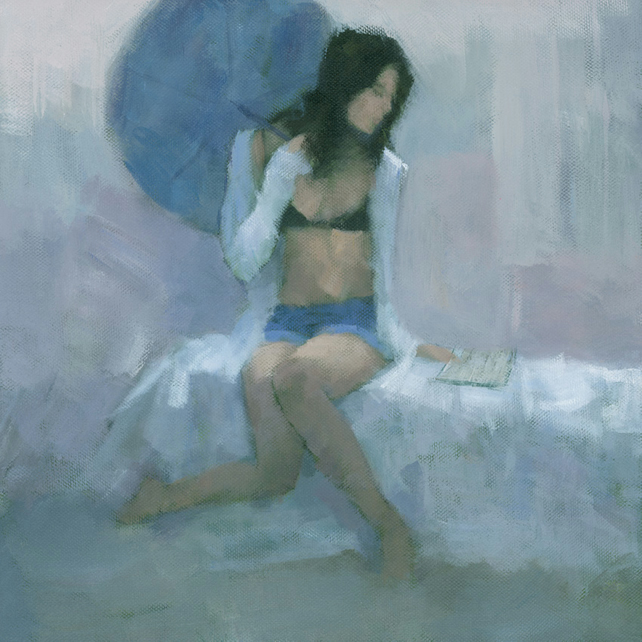 The Blue Parasol, Signed Fine Art Print 11x11 inches