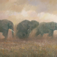 Dust Riders (detail), Elephant Painting Signed Fine Art Print, 10x7 inches