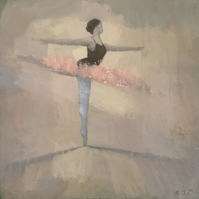 The Pink Tutu, Ballet Painting Signed Fine Art Print 7.25x7.25 inches