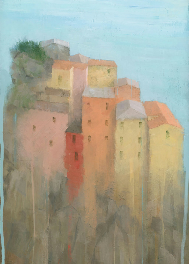 "Cinque Terre, Italy. Seaside Village Painting Signed Giclee Art Print 15.5""x11"""