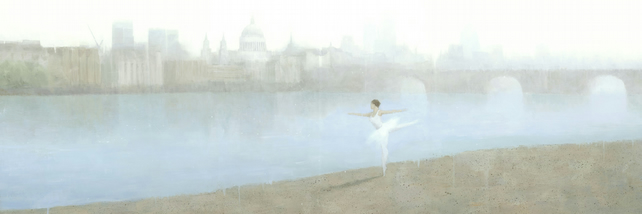 Ballerina on the Thames,  Signed Fine Art Print 26x9 inches