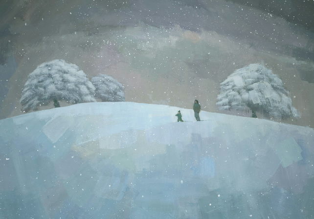 Snowy Hill, Signed Fine Art Print 10x7 inches