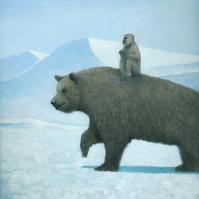 The Journey, Monkey and Bear Painting Signed Fine Art Print 11x11 inches