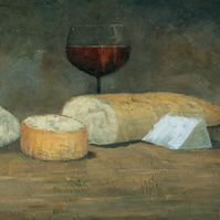 Cheese and Wine, Country Kitchen, Signed Fine Art Print 10x7 inches