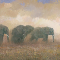 Dust Riders, Elephant Painting Signed Giclee Print, 26x9 inches