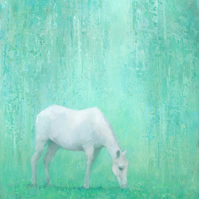 The Green Glade, White Horse Painting, Signed Giclee Print 10x7 inches