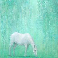 The Green Glade, White Horse Painting, Signed Giclee Print 20x10 inches