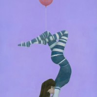 The Pink Balloon 2 Signed Fine Art Print 15.5x11 inches