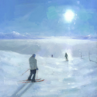 Ski Painting Signed Art Print 11x11 inches