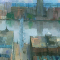 London Cityscape Painting, Signed Giclee Print 20x10 inches