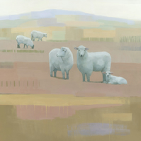 Life Between Seams, Sheep Painting, Signed Fine Art Print 11x11 inches