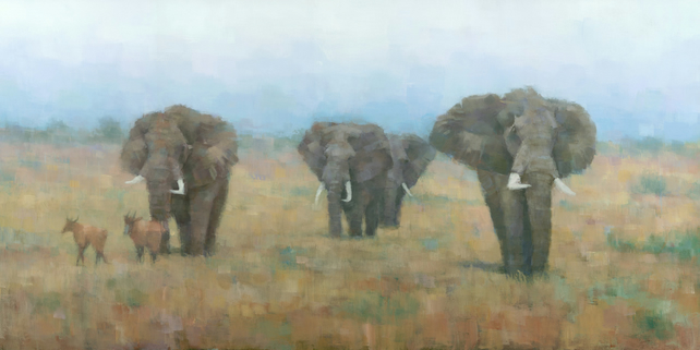 On the Move, Elephant Painting Signed Giclee Print, 20x10 inches