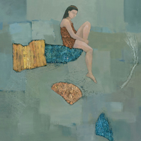 Set Adrift, Figurative Mixed Media Painting, Signed Fine Art Print 15.x11 Inches