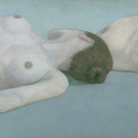 Two Figures Lying, Female Nude Figure Painting, Signed Giclee Print 26x9 inches