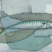 Cornish Mackerel, Signed Giclee Print 20x10 inches