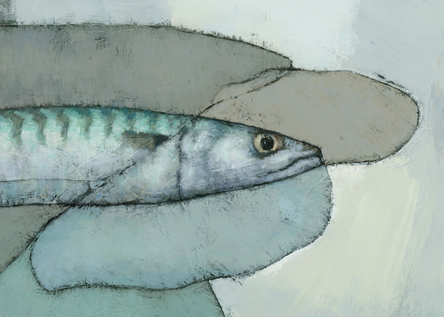 Cornish Mackerel (Detail), Signed Giclee Print 7x5 inches