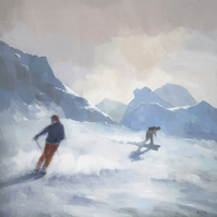 """Last Run, Les Arcs"" Ski Snowboard Painting, Signed Art Print 11x11 inches"