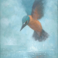 Flame in the Mist, Kingfisher Signed Fine Art Print, 15.5x11 inches