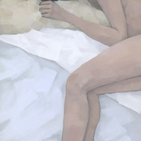 Last Dream, Female Figure Painting, Signed Giclee Print 20x9 inches