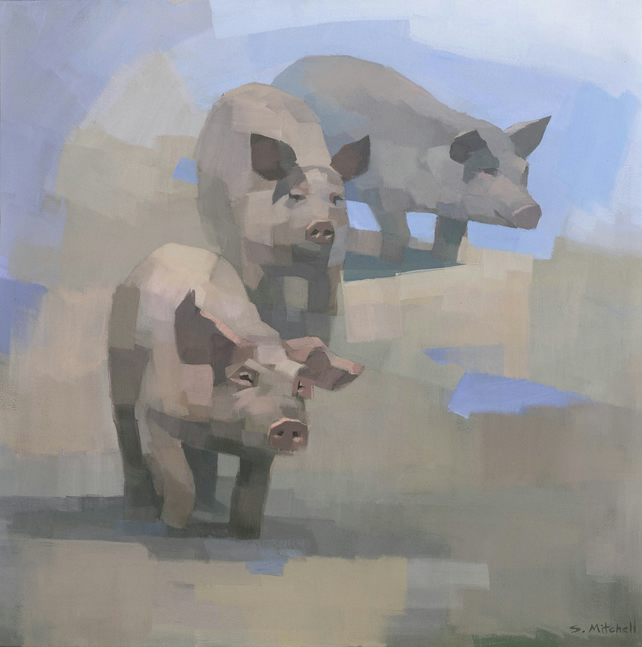 Feed Time, Pig painting giclee print