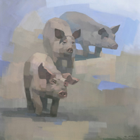 Pig Painting Signed Art Print, Feed Time