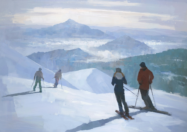 Into the Valley, Ski Painting Signed Print