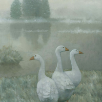 The Three Geese, Signed Framed Art Print
