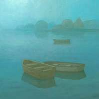 Blue Boats Painting, Signed Art Print, Peaceful Serene Seascape