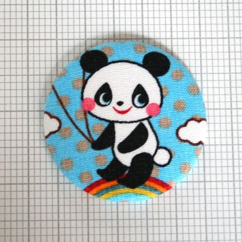 Little Japanese Fabric Covered Mirror - Panda Meander