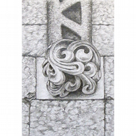 Stone Carving Original Pencil Drawing