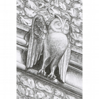 Owl Stone Carving Original Pencil Drawing