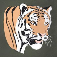 Watchful Tiger - Original Paper Cut