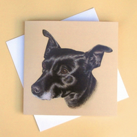 Greetings Card - Blank - Black Dog Portrait