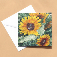 Greetings Card - Blank - Sunflowers