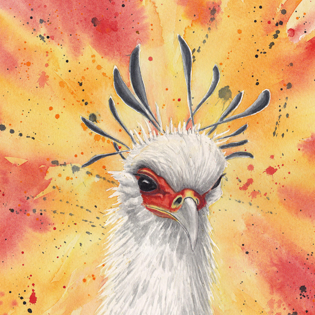 Secretary Bird Original Watercolour Painting