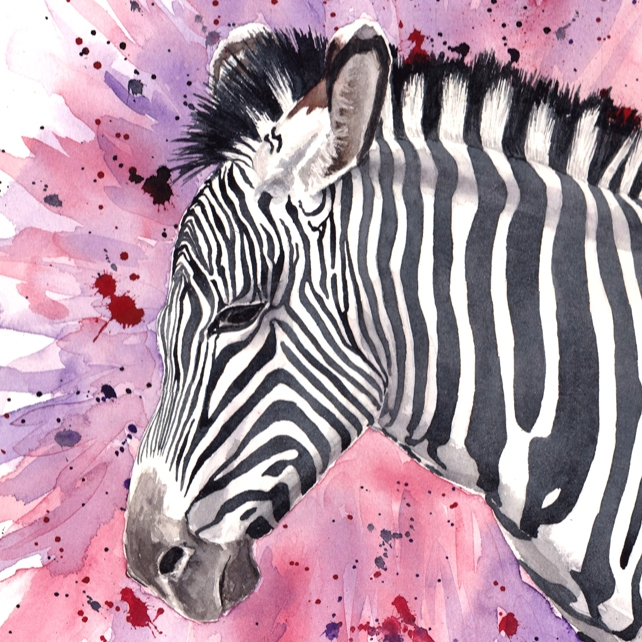 Zebra Head Original Watercolour Painting
