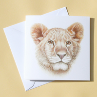 Greetings Card - Blank - Lion Cub