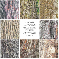 Greetings Card - Blank - Set of 4 Tree Bark designs