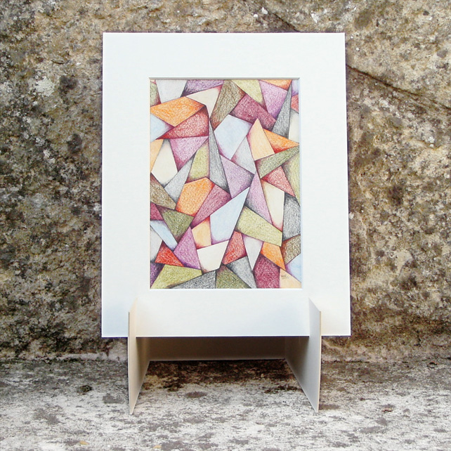 Facets Original Coloured Pencil Abstract Drawing