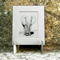 Bull Elephant Original Graphite Pencil Drawing