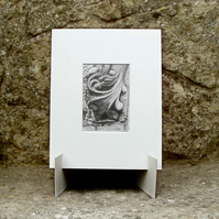 Stone Carving Original Graphite Pencil Drawing