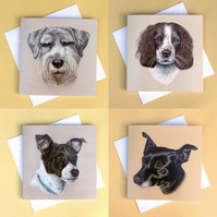 Greetings Card - Blank - Set of 4 Dogs