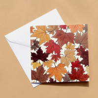 Greetings Card - Blank - Autumn Leaves