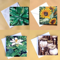 Greetings Card - Blank - Set of 4 Plants Flowers Leaves and Seeds